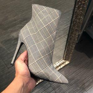 Grey Plaid Comfy Ankle Bootie Heels
